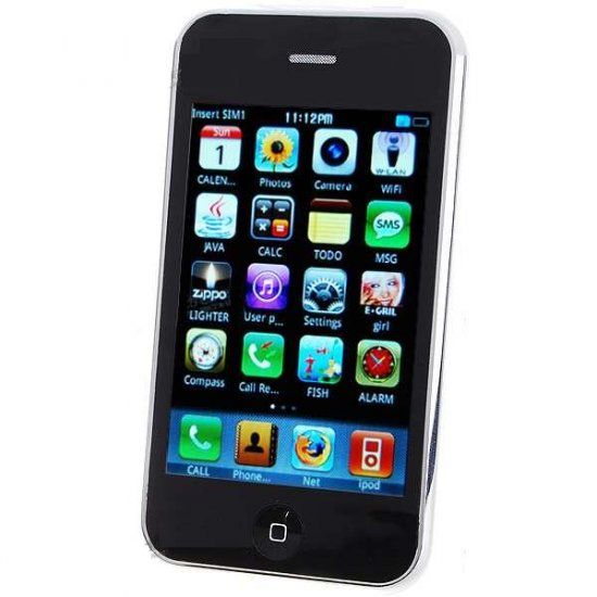 """iFhone 3GS 3.5"""" Touch Screen Quadband GSM Cell Phone w/WiFi + JAVA (White + Black)"""