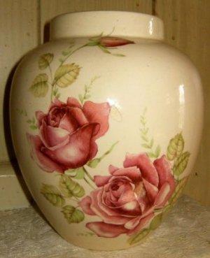 Ceramic Ginger Jar with Red Roses