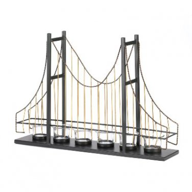 """METAL BRIDGE 13"""" DETAILED CANDLE HOLDER WITH 6 CLEAR GLASS CANDLE CUPS"""