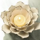 "DELICATE WHITE LOTUS FLOWER SINGLE TEALIGHT CANDLE HOLDER  5¼"" x 5"" x 2¼"" high"
