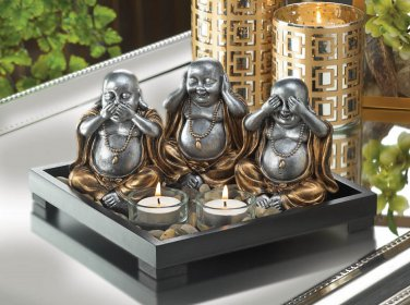 NO EVIL BUDDHA TABLE TOP GARDEN SCENE CANDLE HOLDERS