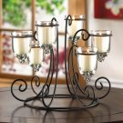 "TABLE TOP CANDLE HOLDER SCROLL IRON STAND 9.5"" WITH 6 GLASS CANDLE CUPS"