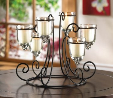 """TABLE TOP CANDLE HOLDER SCROLL IRON STAND 9.5"""" WITH 6 GLASS CANDLE CUPS"""