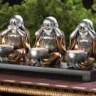 NO EVIL BUDDHA SCENE CANDLE HOLDERS