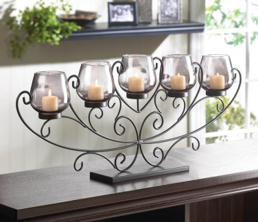 "CURLY SCROLLS IRON STAND WITH 5 SMOKY GLASS CANDLE GOBLETS  11 1/4"" High"