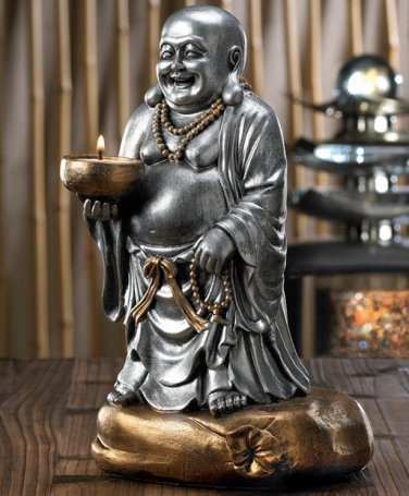 "LAUGHING BUDDHA RESIN FIGURE SINGLE CANDLE HOLDER 11 3/8"" High"