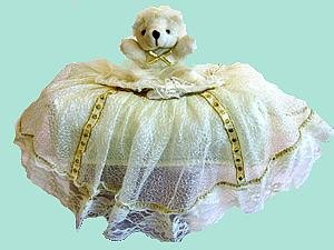 Children Tissue Box Cover Large-Lace Bear  CTC 44