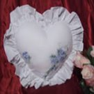 Romantic Heart Cotton Embroidered Throw Pillow