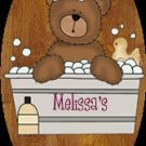 Baby boy / baby girl bathtime personalized name wood plaque/sign 7 X 5 (B)