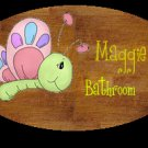 Girl bathroom wall decor idea -  baby girl, bathtime personalized wall wood plaque-sign 8 X 10 (D)