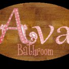 Girl bathroom wall decor idea -baby girl, bathtime personalized wall wood plaque-sign 8 X 10 (E)