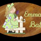 Girl bathroom wall decor idea - Baby girl bathtime personalized wall wood plaque-sign 8 X 10 (H)