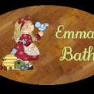 Girl bathroom wall decor idea - Baby girl bathtime personalized wall wood plaque-sign 8 X 10 (O)