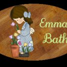 Girl - Baby girl bathtime/bathroom decor idea personalized wood plaque/sign 7 X 5 (L)