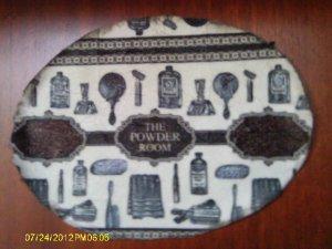 """""""The Powder Room"""" vintage shabby chic bath wall plaque VS36"""