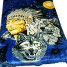 QUEEN KOREAN style MINK Native American Indian Wolf blanket NEW!