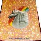 QUEEN KOREAN style MINK Unicorn Rainbow blanket NEW!