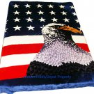 QUEEN KOREAN style MINK White American Eagle blanket NEW!