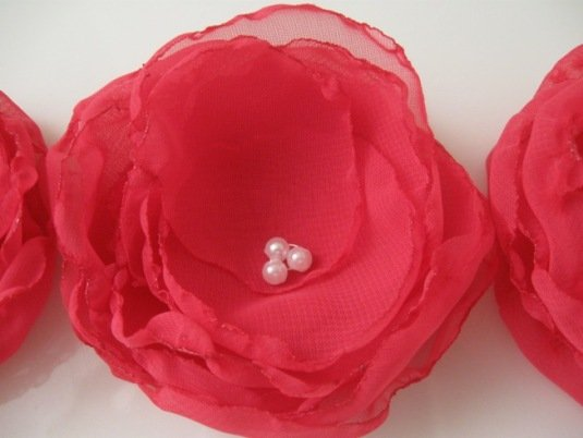 Flower Appliques. Handmade Organza sew on Flower appliques. Flower hair pin. Chiffon flowers.