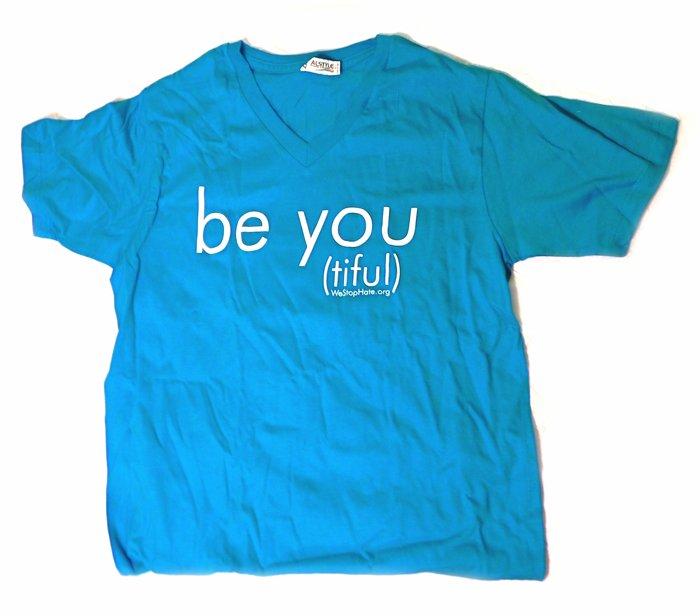 """BLUE LARGE Unisex V-Neck """"Be You (tiful)"""" WSH Shirt"""