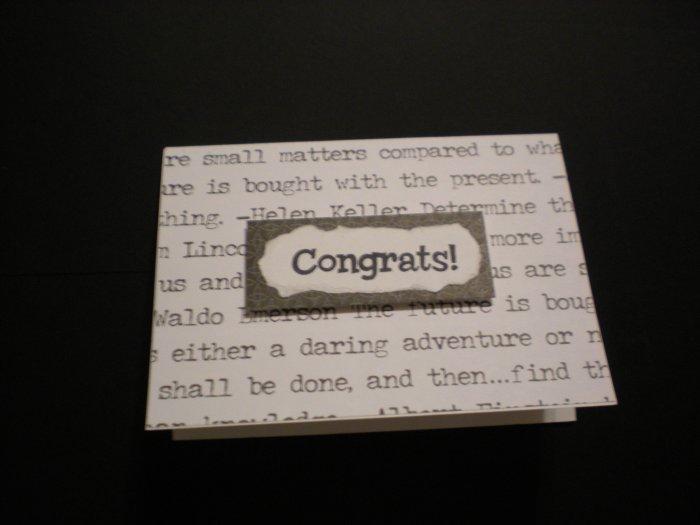 """Congrats!"" Graduation Card (Black/White)"
