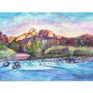 Oak Creek Sedona -11x15 signed original watercolor landscape painting - desert, river, arizona