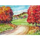 Autumn Country Road -11x15 signed original watercolor landscape painting - fall, leaves, farm