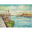 Safe Harbor -11x15 signed original watercolor landscape painting - sea, ocean, ship, boat