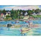 Harbor Twilight - 11x15 original watercolor landscape  painting, ocean, sea, boats