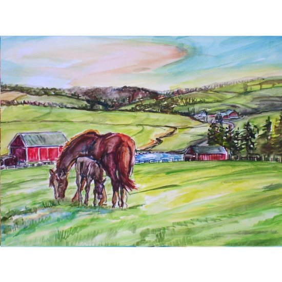 Country Store Oak Harbor >> High Pastures - 11x15 original watercolor landscape painting, farm, barn, country, horse