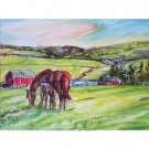High Pastures - 11x15 original watercolor landscape  painting, farm, barn, country, horse