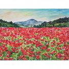 Wild Red Poppies - 11x15 original watercolor landscape painting, flowers, mountain