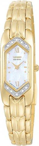 Citizen EG2082-55D Eco-Drive Silhouette Gold Plate Diamonds Ladies