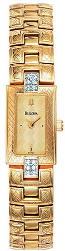 Bulova 98R86 Gold Tone Dress Watch with Diamonds Ladies