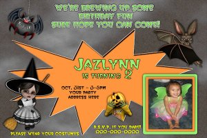 Custom photo Halloween Birthday Invitation