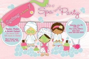 Spa- Sleep Over - Pajama party custom Birthday Invitation 1 - Printable