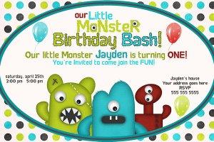 Little Monster Custom Birthday Party Invitation- printable