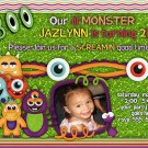 Little Monster Boo Custom Birthday Party Invitation- printable