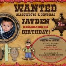 Western Cowboy / Cowgirl Wanted Birthday Invitation - DIY