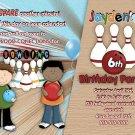 Custom Bowling Boys Birthday Party Invitation