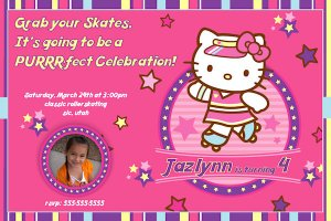 Hello Kitty - Roller Skating Personalized Birthday Invitation