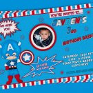 Super Hero Photo Invitation Birthday Party Custom Printable Digital File Captain America Superhero