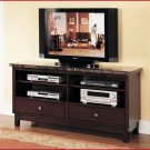 ACME Entertainment Furniture Danville 60 inch Marble Top Cherry TV Stand Console ACME-7093