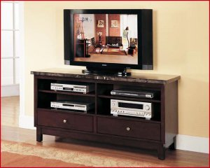Acme Entertainment Furniture Danville 60 Inch Marble Top Cherry Tv