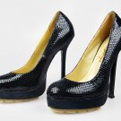 Genuine leather women high-heel platform pump shoes
