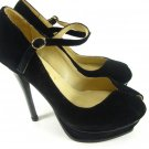 Classic women peeptoe strap pump shoes