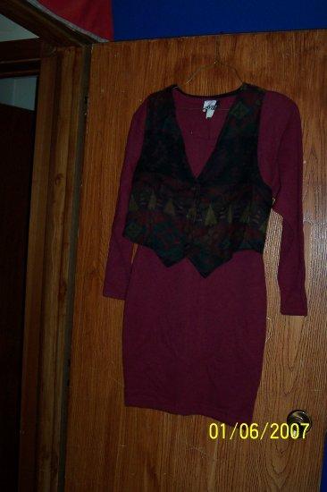 Short Maroon Dress with Vest  SZ M