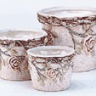 3 PC POTTERY ROSES POTS SET