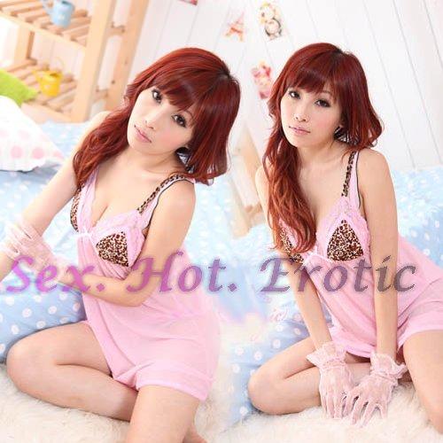 Sexy Pink Lingerie Hot & Cute women underwear sleep dress badydoll BD#01