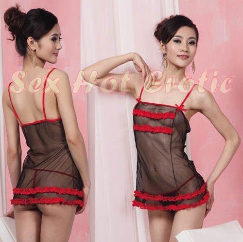 Black Sexy Lingerie Hot & Cute women underwear sleep dress badydoll BD#12